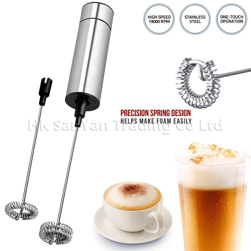Electric Milk Frother with Cleaning Brush and Stand